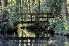 Holzbrücke über einen Kanal im Spreewald bei Schlepzig.