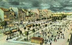 Historische colorierte Luftansicht vom Spielbudenplatz und der Reeperbahn auf Hamburg St. Pauli.