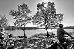 Radfahrer auf der Spreewald-Radroute bei Schlepzig - strahlender Himmel, Birken am Wasser; Gegenlicht-Fotografie, die Sonne strahlt durch die Bäume.