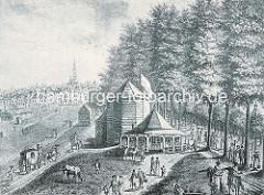 Reeperbahn und Spielbudenplatz um 1800 - Holzgebäude Cafelokal Trichter; Pferdekutschen - weidende Pferde.