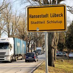 Ortsschild Hansestadt Lübeck - Stadtteil Schlutup.
