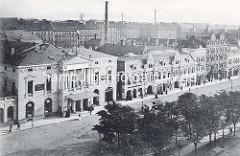 Luftaufnahme - historische Darstellung vom Spielbudenplatz auf Hamburg St. Pauli; neues Operettenhaus - Wiener Café Central, Panoptikum.
