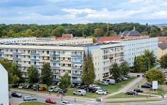 Luftansicht von der Wohnanlage an der Lindenstrasse in Lübben (Spreewald).