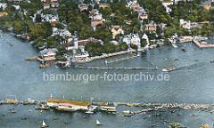 Alte Luftaufnahme vom Uhlenhorster Fährhaus an der Hamburger Aussenalster - die Rennstrecke einer Ruderregatta wird von Booten gesäumt.
