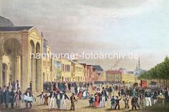 Buntes Treiben auf dem Spielbudenplatz um 1850 - Veranstaltungsgebäude, Auschrift Circus Gymnasticus / Kunstreiter; Vorläufer des Operettenhauses.