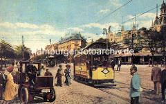 Blick vom Millerntor in die Reeperbahn - Strassenbahn und Droschke, lks. der Spielbudenplatz.