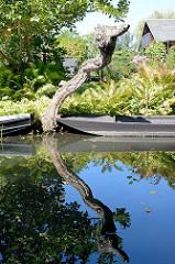 Ein knorriger kahler Baum spiegelt sich im Wasser der Spree - Holzkähne liegen zwischen Farnen am Ufer.