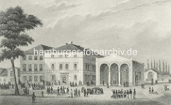 Alte Darstellung vom Spielbudenplatz ca. 1850 - Actien Theater und Wagners Hotel