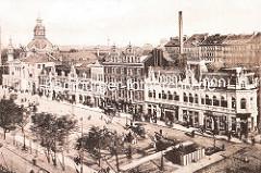 Alte Luftansicht vom Spielbudenplatz auf Hamburg St. Pauli - lks. die Taubenstrasse und das EDEN / Welt Bodega; ganz lks. der Trichter und das Operettenhaus, daneben das Gebäude vom Panoptikum.