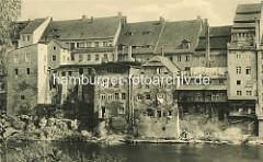 Alte Fotografie von der Uferbebauung an der Neiße in Görlitz.