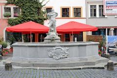 Neptunbrunnen am Görlitzer Untermarkt, aufgestellt 1756 - Steinmetz Johann Georg Mattausch.
