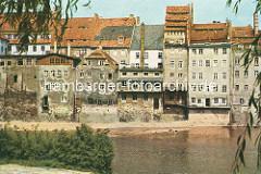 Altes Foto von der Uferbebauung an der Neiße in Görlitz.