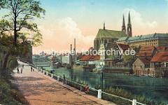 Historische Ansicht von der Neiße und Grölitz; Uferpromenade - Altstadtbrücke und St. Peter und Paul Kirche.
