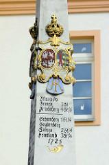Kopie der historischen sächsischen Postmeilensäule / 18. Jahrhundert am Plac Pocztowy in Zgorzelec;