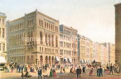 Die Tonhalle am Neuen Wall / Ecke Bleichenbrück in der Hamburger Neustadt wurde nach dem Grossen Brand von 1842  für Musikaufführungen errichtet. Passanten flannieren auf der Strasse - Pferdekutschen,  Arbeiter mit Schubkarre - Mädchen in Tracht.