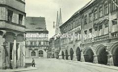 Historische Ansicht vom Görlitzer Untermarkt - in der Bildmitte die Ratsapotheke und die Türme der St. Peter und Paul Kirche / Peterskirche