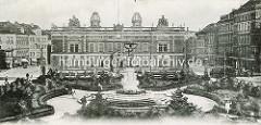 Historische Ansicht vom Görlitzer Postplatz - in der Bildmitte die Grünanlage mit der sogen. Muschelminna - Kunstbrunnen, eingeweiht 1887.