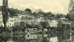 Historische Uferbebauung, Wohnhäuser in Görlitz am Ufer der Neisse.