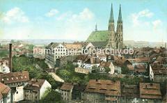 Historische Luftansicht von Görlitz - Blick über die Dächer der Stadt an der Neiße zur St. Peter und Paul Kirche mit den beiden Kirchtürmen.
