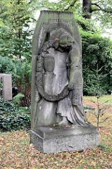 Grabstein mit Figurenschmuck - trauernde Frau; historischer Nikolaikirchhof in Görlitz.  Aufgrund seines reichen Grabmal- und Epitaphenbestandes vom frühen 17. bis in die Mitte des 19. Jahrhunderts sowie der Grufthäuser des 17. und 18. Jahrhunderts i