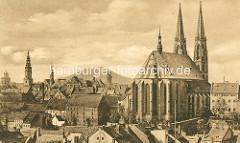 Altes Bild von der Görlitzer Peterskirche / St. Peter und Paul Kirche - Blick über die Stadt mit dem Rathausturm und den alten Befestigungstürmen.