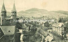 Historisches Luftbild von Goslar - re. die Kirchtürme der Jakobikirche.
