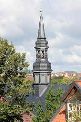 Glockenturm - Uhrenturm vom Blankenburger Rathaus - Ursprungsbau von 1233, jetziger Bau aus dem 17. Jahrhundert.