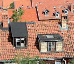 Dächer der Stadt Blankenburg - Dachfenster und Schornsteine.