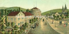 Historische Ansicht vom Hotelgebäude  Der Achtermann, Rosentorstrasse - Teile der historischen Stadtmauer / Zwinger.