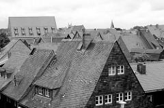 Blick über die Schieferdächer in der Harzstadt Goslar - als freie Reichsstadt gehörte Goslar dem Städte- und Kaufmannsbund der Hanse an.