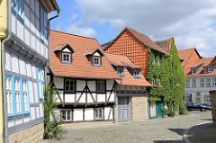 Fachwerkhäuser, Handwerkerhäuser - Strasse Grauer Hof, Halberstadt.