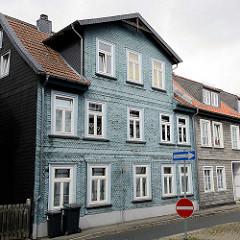 Wohnhaus in Goslar - Fassade mit grünem Schiefer verkleidet.