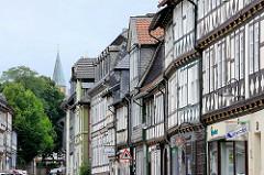 Historische Fachwerkfassaden in der Breiten Strasse / Goslar.