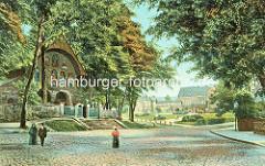 Altes Bild von Vorhalle der Stiftskirche St. Simon und Judas, Domvorhalle in Goslar - im Hintergrund die Kaiserpfalz.