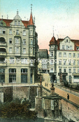 Historische Ansicht von Glatz - Blick über die Brücktorbrücke zur Altstadt.