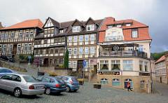 Fachwerkhäuser - Wohnhäuser am Marktplatz von Blankenburg / Harz.