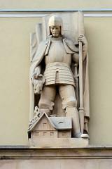Der Heilige Florian löscht in Rittergestalt ein brennendes Haus /  Kłodzko Glatz