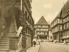 Altes Bild vom Rathaus in Halberstadt / Holzmarkt; Treppenaufgang zur Ratslaube.