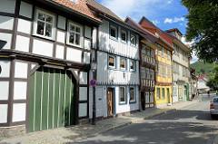 Wohnhäuser mit Fachwerk, Holzfassade in Wernigerode.
