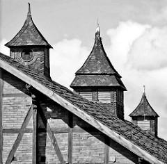 Dachgiebel, Dachlüftung und Uhrenturm; historisches Fachwerkgebäude in Halberstadt.
