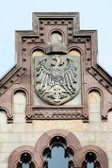 Giebel mit Wappen / Adler - Königliches Postgebäude in Goslar - erbaut 1898,
