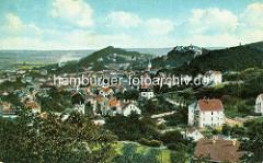 Historische Luftansicht - Panorama von Blankenburg / Harz - re. im Hintergrund die St. Bartholomäus Kirche und das Schloss.