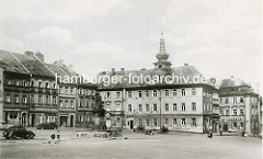 Altes Hradec Králové / Königgrätz Kleiner Platz, Blick zum ehem. Neuen Rathaus in Hradec Králové / Königgrätz - Renaissance Gebäude, restauriert 1868.