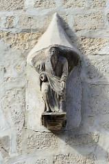 Konsolfigur, Steinfigur / 16. Jahrhundert - Hausfassade vom Kaufmannshof im Steinweg 21 in Quedlinburg.