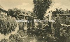 Historisches Bild aus Aschersleben - Blick über die Eine, Wohnhäuser am Flussufer.