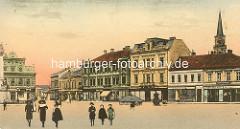 Coloriertes altes Bild vom Marktplatz in  Nymburk / Neuenburg an der Elbe;  Kinder auf dem Platz, Geschäfte.