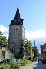 Alter Wehrturm in Quedlinburg; Gänsehirtenturm; mittelalterlicher Stadtturm, Teil der ehem. Stadtbefestigung.