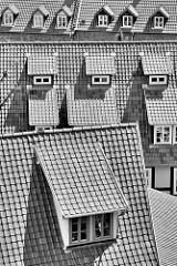 Schwarz-Weiß Darstellung - Dächer und Dachgauben in Quedlinburg.