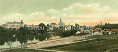 Historisches Panorama  Nymburk / Neuenburg an der Elbe - Blick über den Fluss zur Altstadt und St. Ägidius Kirche.
