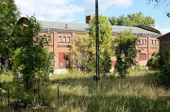 Alte Industriearchitektur - Ziegelgebäude, Güterbahnhof Aschersleben - Bahngleise mit Gras überwuchert.